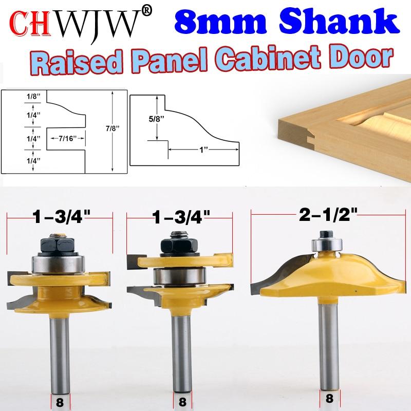 3PC 8mm Shank High Quality Raised Panel Cabinet Door Router Bit Set 3 Bit Ogee Woodworking