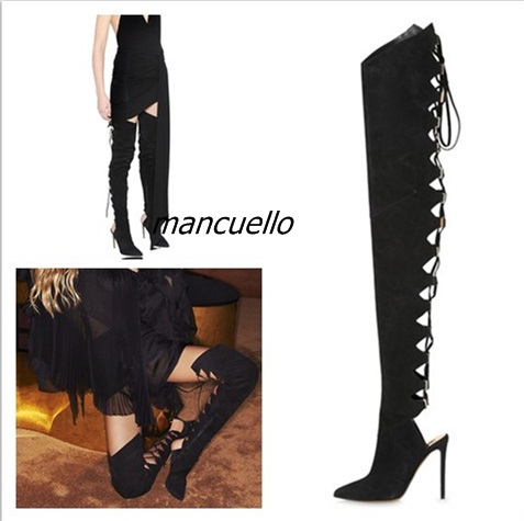 Sexy Black Suede Cut-out Pointed Toe Long Boots Stylish Women Cross Strap Stiletto Heel Lace Up Keen High Boots New Arrival new arrival knee high boots cross strap cut outs gladiator sandal boots suede open toe lace up sandals summer women flat shoes