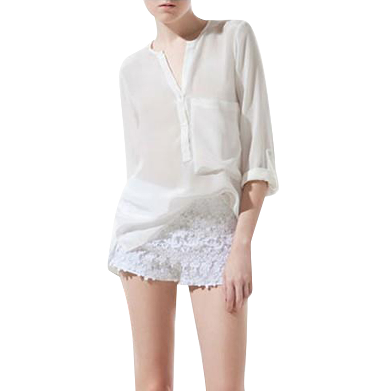 HOT!V-NECK SINGLE POCKET FOLD SLEEVE CHIFFON LONG SLEEVE SHIRT KK-3959890Freeshipping