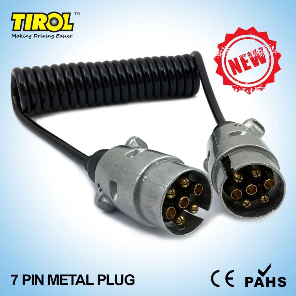 Tirol 7 Pin Metal Plug Trailer Wiring Spring Cable 150cm Connector For 12n Type 2 X