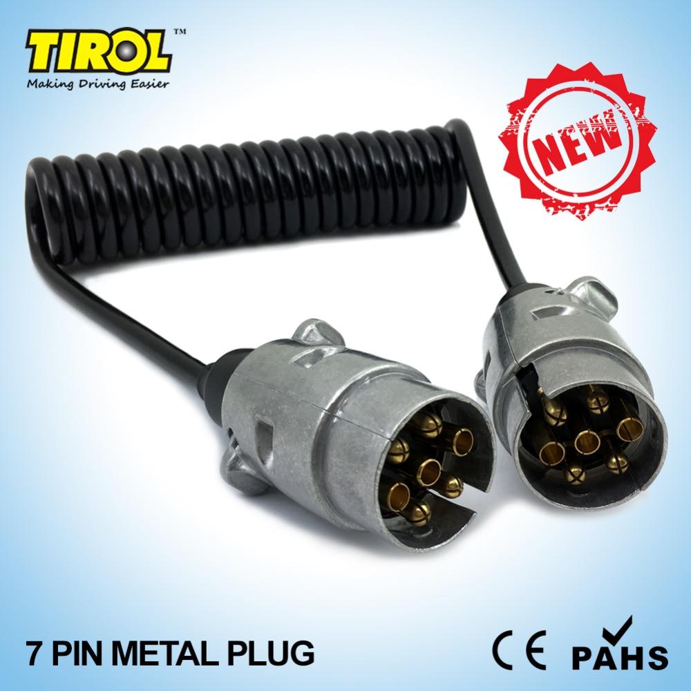 Tirol 7 Pin Metal Plug Trailer Wiring Spring Cable 150cm Connector Socket 12n Type 2 X