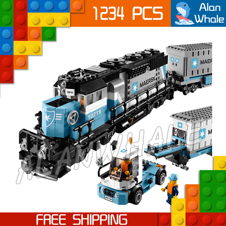 1234pcs Creator Maersk Trains Freight Cargo Locomotive 21006 Classical DIY Model Building Kit Blocks Toys Compatible With lego trains reader mfr1