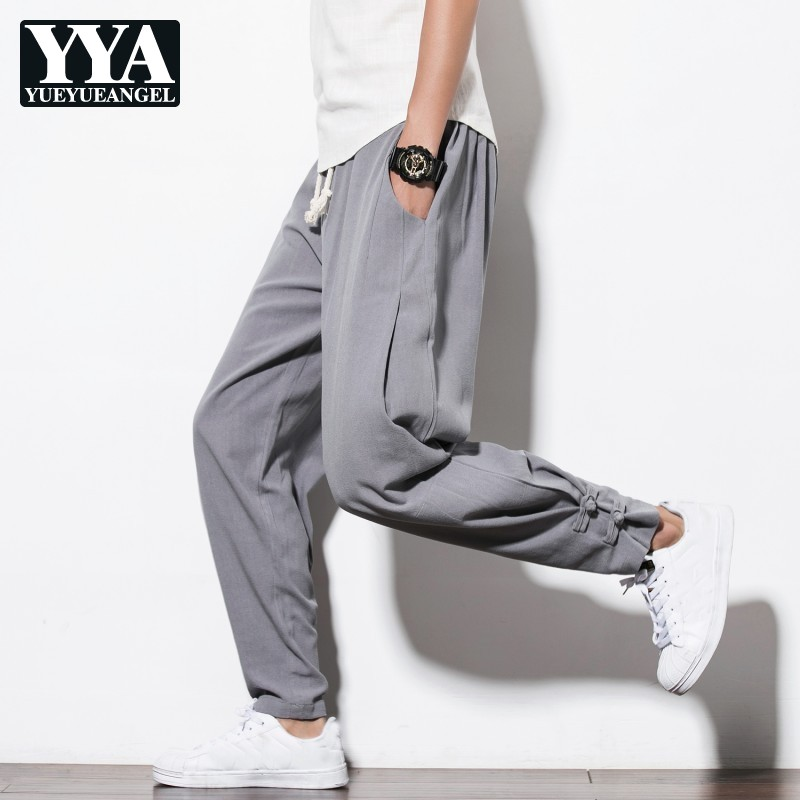 Mens Trousers Flare-Pants Gray Joggers Chinese-Style Large-Size Thick Solid Soft