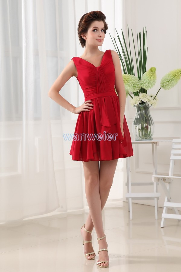 free shipping 2016 new design real couture vestidos formales hot seller brides maid   dress   short red party prom   evening     dresses