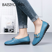 New Big Size Solid Casual Flat Sneakers Women Shoes Genuine Leather Round Toe Slip-On Non-slip Sport Student Female Shoes35-44