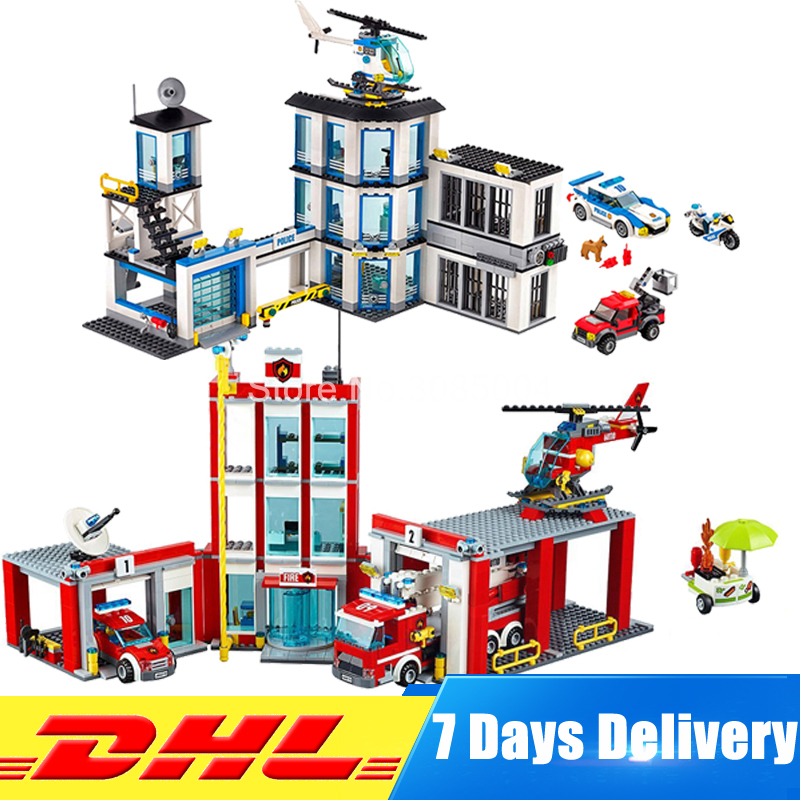 DHL Lepin City Series 02020 New Police Station+ 02052 Fire Station 60141 60110 Education Building Blocks Bricks Model Toys Gifts spell insert building blocks fire model plastic environmental protection construction science and education children s education