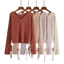 6 Solid Color Crop Sweater Knitted Korean V Neck Loose Short Women Autumn Lace-up Long Sleeve Ladies Sweaters Pullover