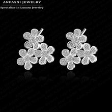 ANFASNI Fashion Earing Three Flower Plated Ear Stud Jewelry High Quality Leaf Ear Stud Earrings For Women CER0075-B