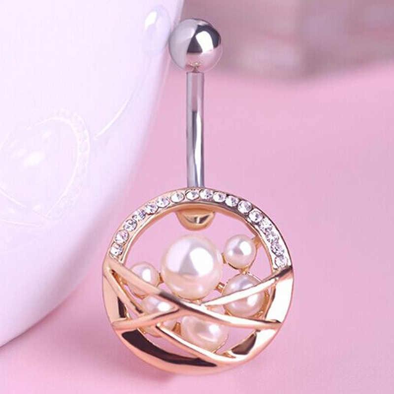 Perempuan Pearl Navel Rings Baik Piercing Bedah Baja Navel Piercing Belly Button Cincin Percing Sexy Body Jewelry Merek Emas Man