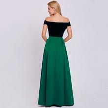 فستان سهرة أنيق بدون أكتاف من القطيفة الأنيقة والستان