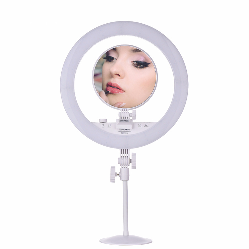 YONGNUO YN208 Studio Light Ring LED Fill-in Light with Make-up Mirror Phone Holder for Portrait Selfie Photograpic Lighting neewer table top mini led ring light lighting kit includes for beauty blog make up selfie studio portrait video photography