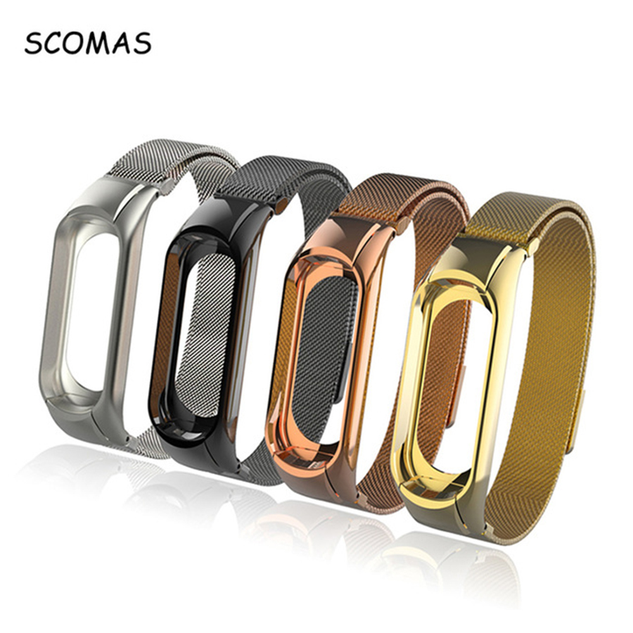 SCOMAS Bracelet Strap for Mi Band 3 Stainless Steel Magnet Replacement Wrist Strap for Xiaomi Mi Band 3 Miband3 Miband Smartband