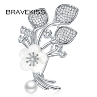 BRAVEKISS Shell Flower Brooch Plant Leaves Natural Freshwater Pearl Women'S Brooches And Pins Jewelry BUX0041