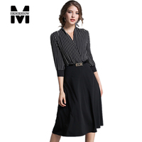 Merderheow New Europe Style 2017 Spring Women S High Quality Stripe Splicing Dress Fashion And Elegant