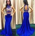 2016 Longa Azul Royal Sereia Vestidos de Baile Luxuoso vestido de Duas Peças júnior Prom Vestidos Frisada Alta Neck Keyhole Voltar Vestidos Para Prom