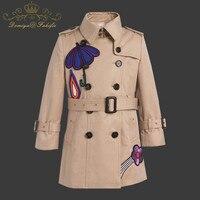 Детские Пальто и куртки для девочек Дети 2018 осень зима бренд Детское пальто Одежда для девочек Лоскутная Верхняя одежда с капюшоном для От 2