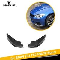 Front Bumper Lip Spoiler Splitters for BMW 4 Series F32 F33 F36 M Sport Gran Coupe Convertible 2013 2017 Carbon Fiber / FRP