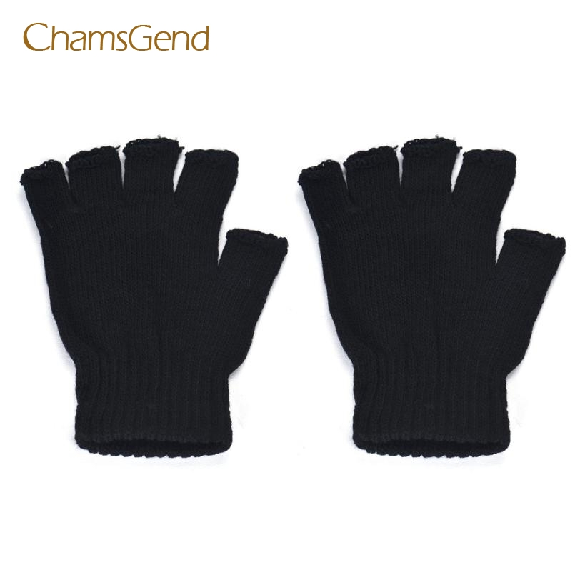 CHAMSGEND 2017 Novelty FlashingMen Black Knitted Stretch Elastic Warm Half Finger Fingerless Gloves,May05
