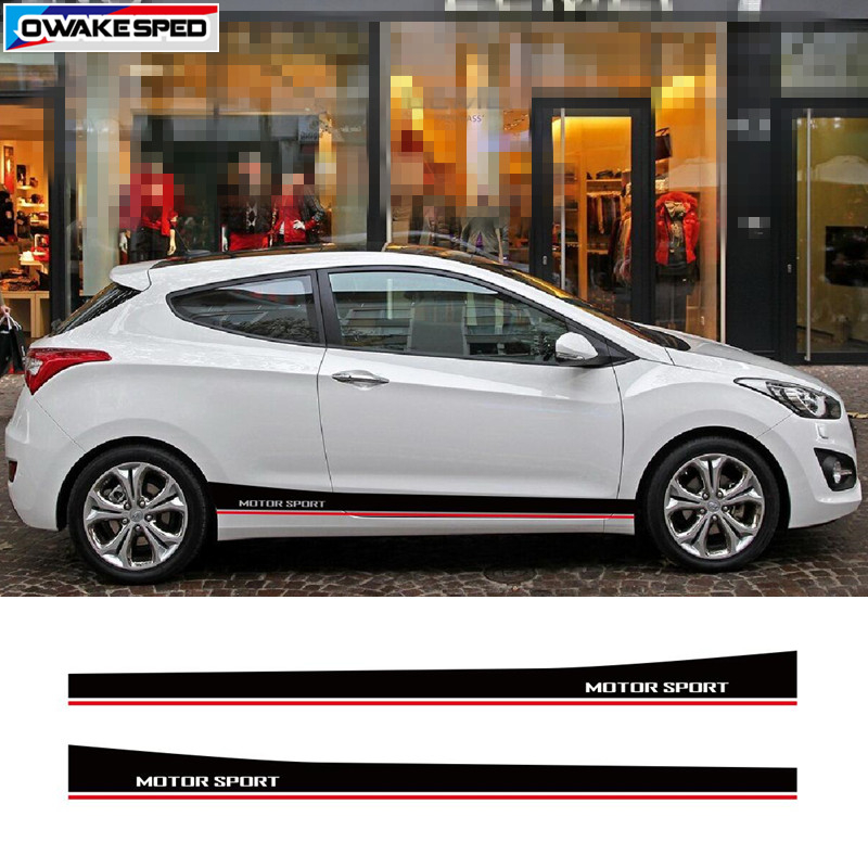 Motorsport Stripes For Hyundai I30 Door Side Skirt Decal Car Styling Body Decor Stickers Exterior Auto Accessories Fit 3-5 Door