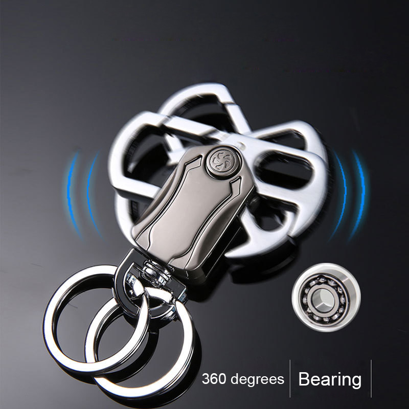 Bycobecy New Men's High-end Metal Creative Business Gifts Fingertip Gyro Key Case 360-degree Rotating Key Holder Key Organizer