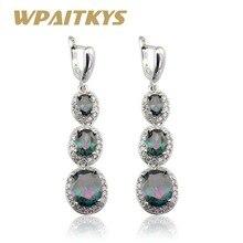 WPAITKYS Rainbow Multicolor Cubic Zirconia Drop Earrings For Women Silver Color Long Earring Jewelry Free Gift Box