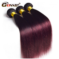 Gossip Ombre Brazilian Straight Hair Weave 3 Bundles Two Tone Ombre Human Hair Extension Straight Hair Bundles Deal Non Remy