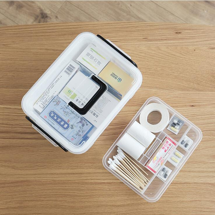 Household medicine box tiered transparent portable family medical kit medicine small first aid kit first aid kit multi family home healthcare kits wholesale pharmaceutical medicine box medical portable suitcase medical kit