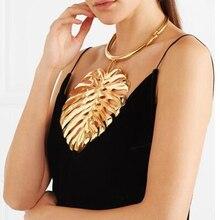 Винтажное длинное массивное ожерелье с большим листом и подвеской, женское Ювелирное колье, женское этническое ожерелье в стиле бохо, золотое, черное