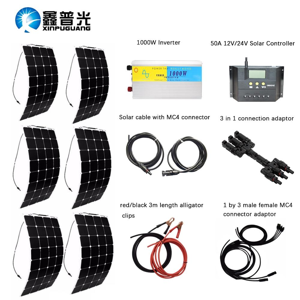 600W DIY Kits PV System 6pcs100W flexible solar panel 12V 24V 30A solar controller 1000W inverter full cable universal china