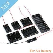 AA taille puissance batterie mallette de rangement support de la boîte conduit avec 1 2 3 4 5 6 8 fentes conteneur sac bricolage Standard Batteries de charge