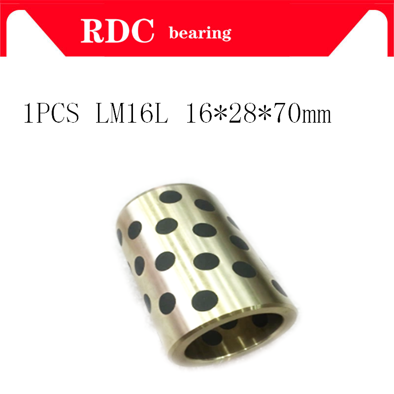 1PCS 16x28x70 mm linear graphite copper set bearing copper bushing oil self-lubricating bearing JDB for shaft 16mm LM16LUU LM16L lm40uu solid inlay graphite self lubricating linear bearings bushings without oil graphite copper sleeve 40 60 80