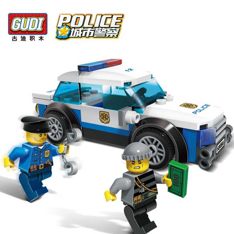 GUDI City Police Blocks Car Small Particles Model Building Kits Assembled Toys Educational DIY Toys for Children Christmas Gift dayan gem vi cube speed puzzle magic cubes educational game toys gift for children kids grownups