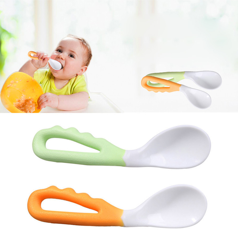 2Pcs Baby Pacifier Feeding Spoon Solid Supplies Curved Spoon Children Tableware