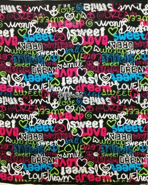 Headwear Scarf Bandanas Neck-Tie Printed Women/girls 100%Cotton Love Heart Sweet