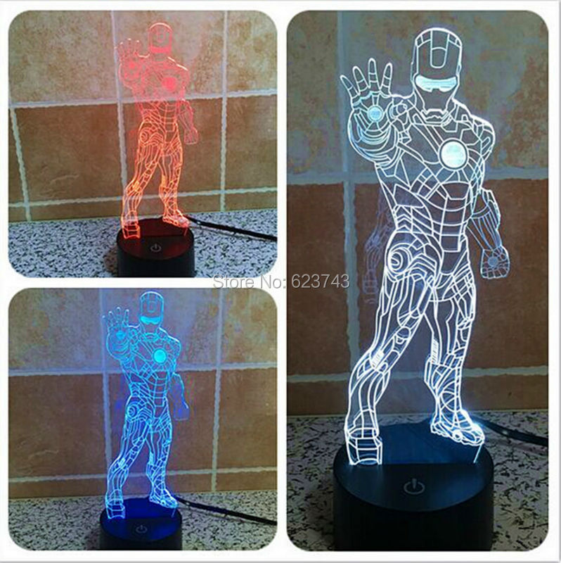 Free Shipping 1Piece 3D color changeable Avengers Iron Man laser LED Night Light USB 3D LED