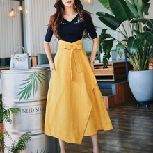 Dabuwawa Spring New Asymmetrical High Waist Long Skirts for Girls Office Lady Women 2019 Fashion Lace-up A-Line Skirt DN1ASK002