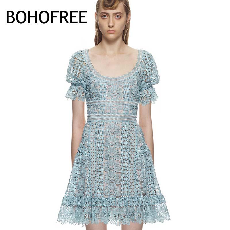 Européenne Partie Scop Stree Mujer Dentelle Robe Courtes Femmes Pu Mode Bohofree Ciel Manches Marque Floral Robes Cou X8nPZ0OwkN