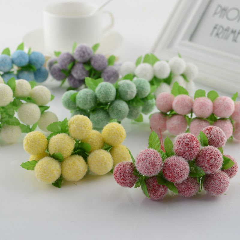 10pcs lovely Foam ball Artificial Flowers For home Wedding Decoration DIY Pompom Wreath Gift box Decorative toys Fake flowers