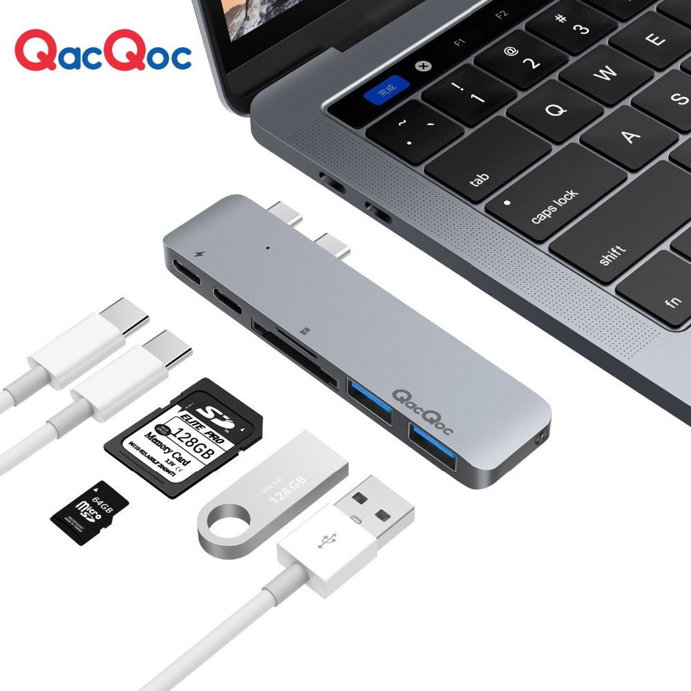 QacQoc GN28A Aluminium USB C Hub with 2 USB 3.0 Port Card reader Type-C 40Gbps Thunderbolt3 charging port only for Macbook Pro ch341 usb port reader