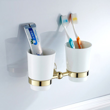 Luxury Bathroom Golden Polished Toothbrush Holder Solid Brass Base Dual Ceramics Cups Wall Mounted ZD875