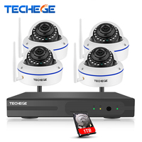 Techege Plug And Play 4CH Wireless NVR Kit P2P 1080P HD Outdoor Indoor IR Night Vision