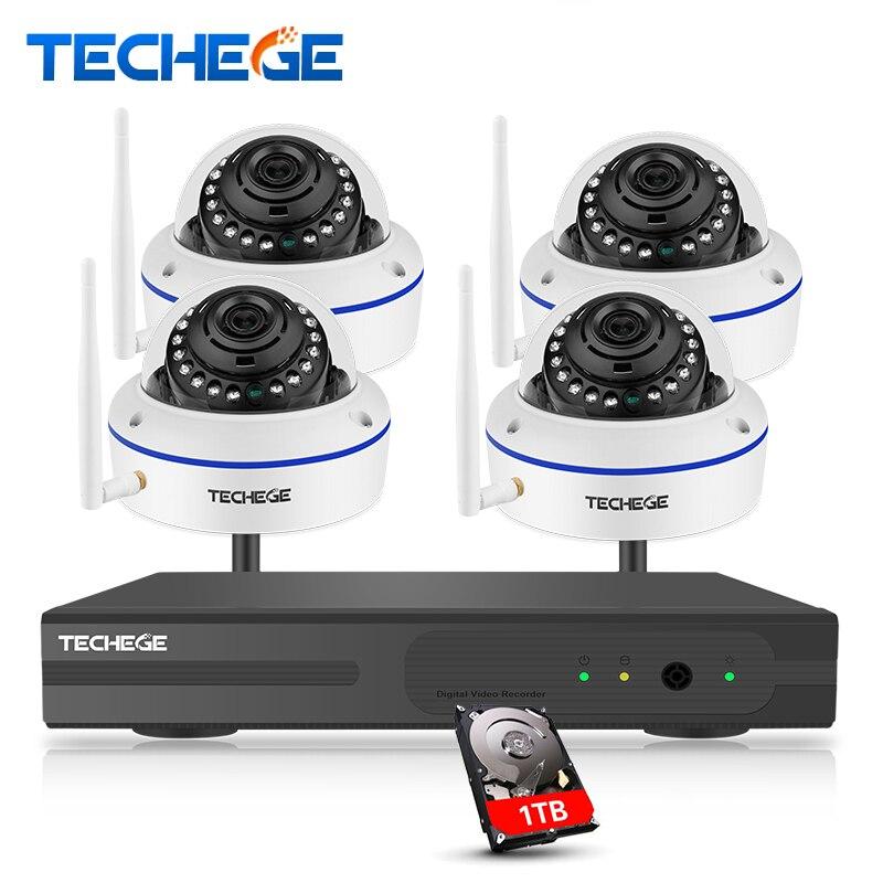 Techege plug and play 4CH Беспроводной NVR комплект P2P 1080 P HD Открытый ИК Ночное видение АНТИВАНДАЛЬ безопасности IP Камера WI-FI CCTV Системы