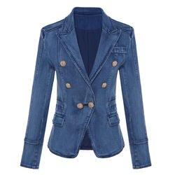 Высокое качество Новая мода 2018 дизайнерский Блейзер Женский металлический Лев пуговицы двубортный джинсовый пиджак верхняя куртка пальто