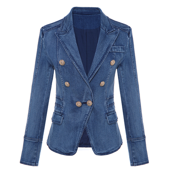 HIGH QUALITY New Fashion 2020 Designer Blazer Women's Metal Lion Buttons Double Breasted Denim Blazer Jacket Outer Coat