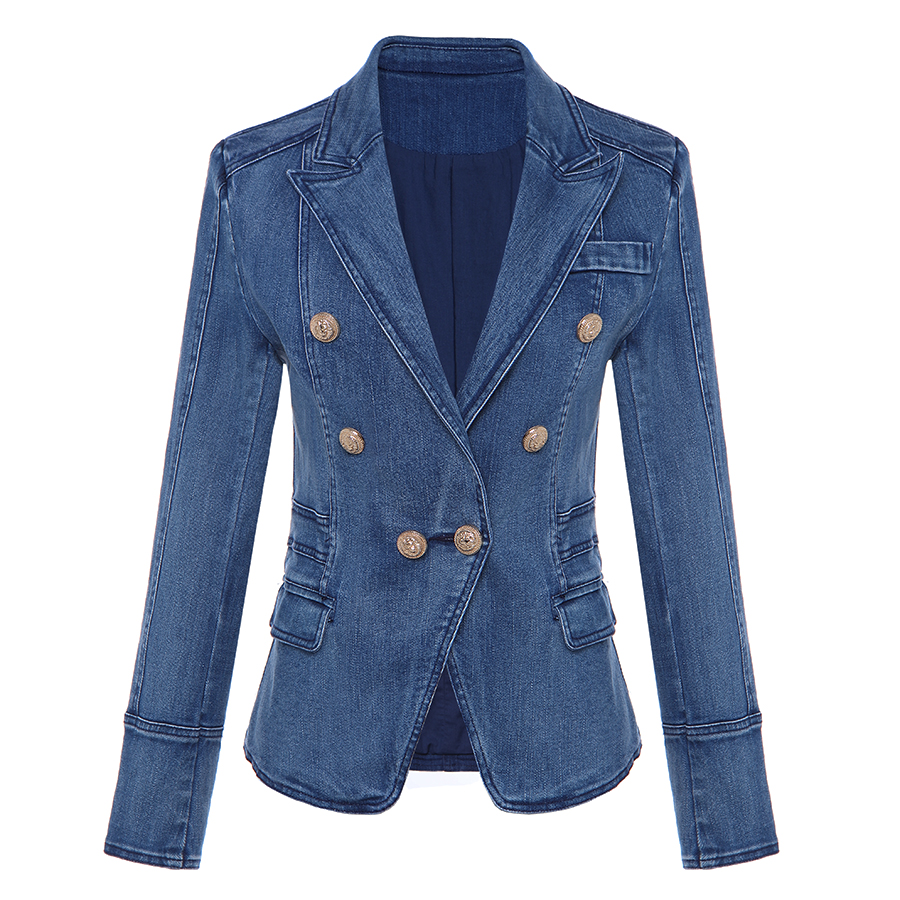 HIGH QUALITY New Fashion 2018 Designer Blazer Women's Metal Lion Buttons Double Breasted Denim Blazer Jacket Outer Coat
