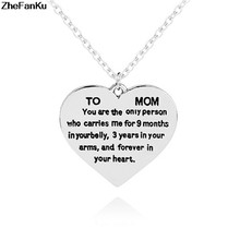 Top qualitly Love Mom Gift Great Mama Heart Pendant Necklace Silver Plated Jewelry For Mother MUM Letters(China)
