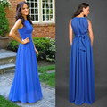 Cheap Long Royal Blue Beach Bridesmaid Dresses Formal Chiffon Back Zipper Floor Length Wedding Party Gown Dress For Women Plus