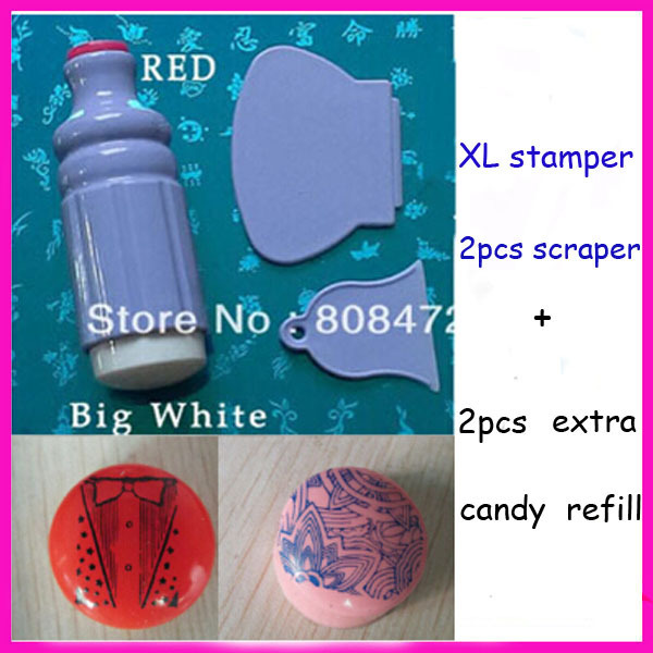 Marshmallow Stamper Jelly Soft Nail Stamp With Extra Refill XL stamper 2PCS Plastic scraper Big Soft Nail Stamp
