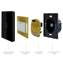 Minitiger Touch Switch EU standard 1 Gang 1 Way White Wall Light Touch Screen Switch Crystal Glass Switch Panel