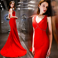 Red Mermaid Long Evening Gowns Small Trailing Sexy V neck Backless Lace Up Strapless Lace Trumpet Women Dress for Party G574